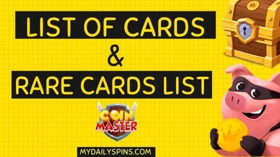 Coin Master 2020 rare cards list & full card sets list
