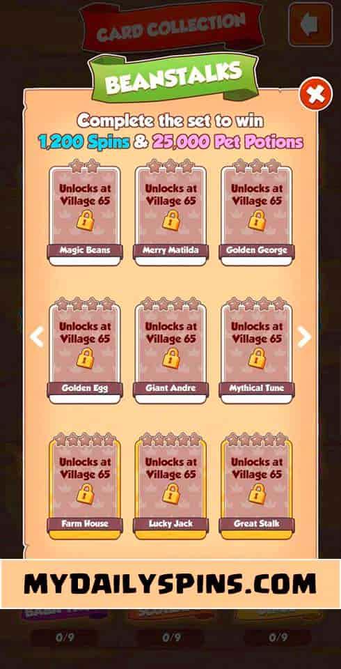 Coin Master Beanstalks card set
