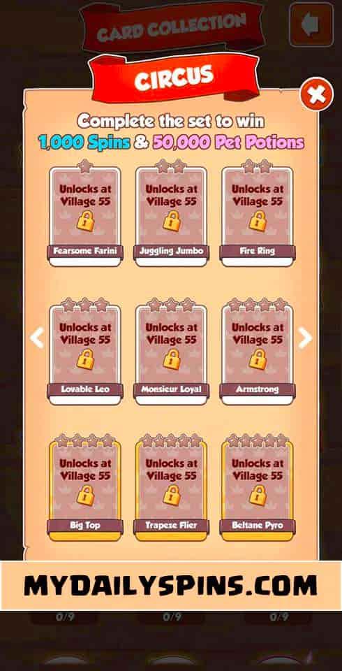 Coin Master Circus card set