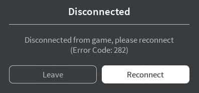 Roblox error code 282