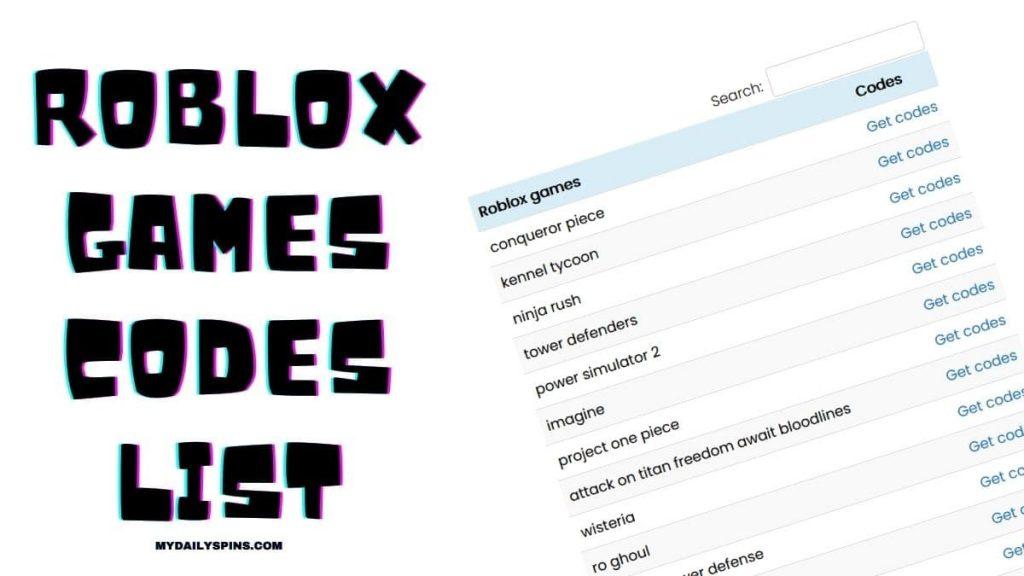 Roblox games codes list
